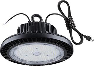 TREONYIA UFO LED High Bay Light 150W, 1-10V Dimmable 21000LM 5000K, ETL&DLC Listed, Super Bright LED Warehouse Garage Shop Industrial Lighting Lamp Fixture, IP65 Waterproof (UL Approved 5' Cable)
