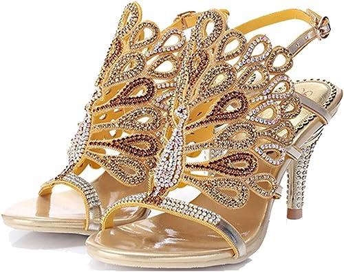 ALUK- Europa y los Estados Unidos - sandalias de diamantes de gama alta fina con zapatos gruesos con zapatos de tacón alto zapatos de mujer ( Color   Fine , Tamaño   37 )