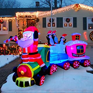 SEASONBLOW 8 Ft Inflatables Christmas Train with Santa Claus,Penguin Decorations Inflatable for Yard Garden Lawn Indoors Outdoors Home