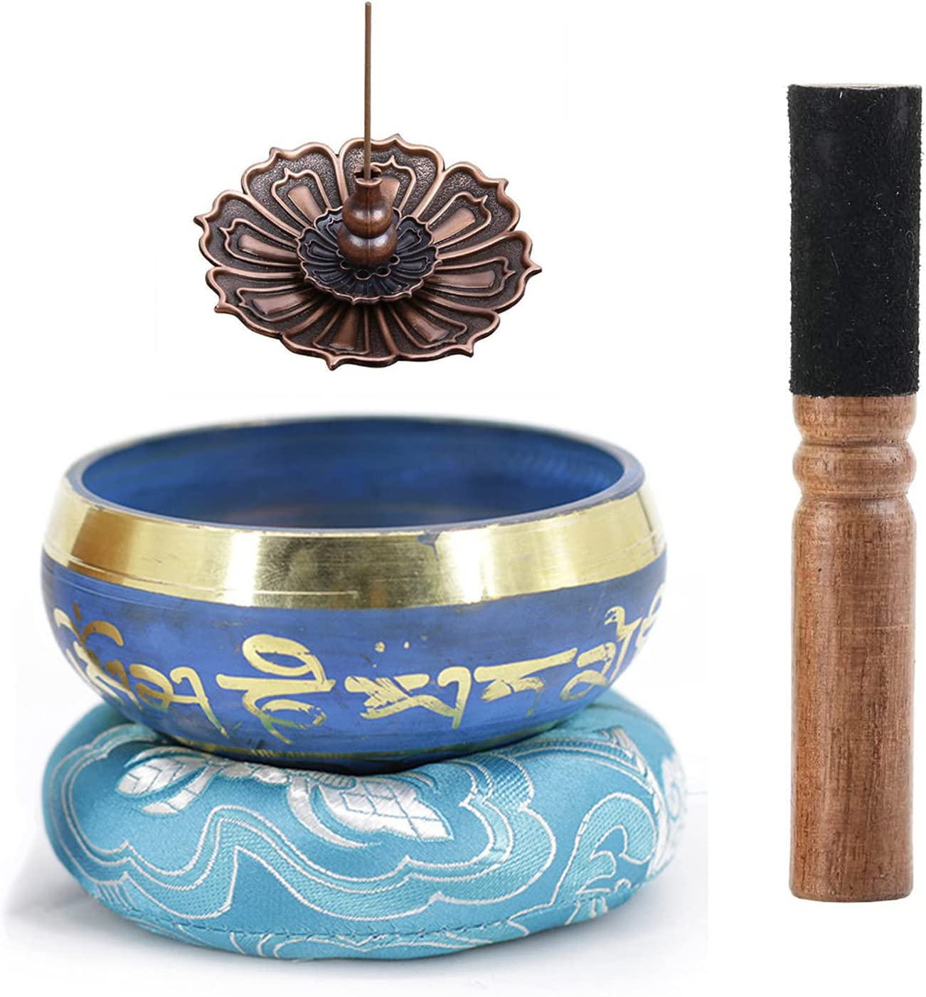 Cuenco Tibetano, RoseFlower Juego De Cuencos Tibetanos para la Meditación Chakra Healing, Oración, Yoga, Budismo -Incluye un Cojín y la Baqueta, Quemador De Incienso Lotus
