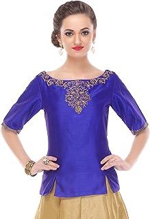 2774c2e596 Utsav Fashion Embroidered Dupion Silk Top in Royal Blue