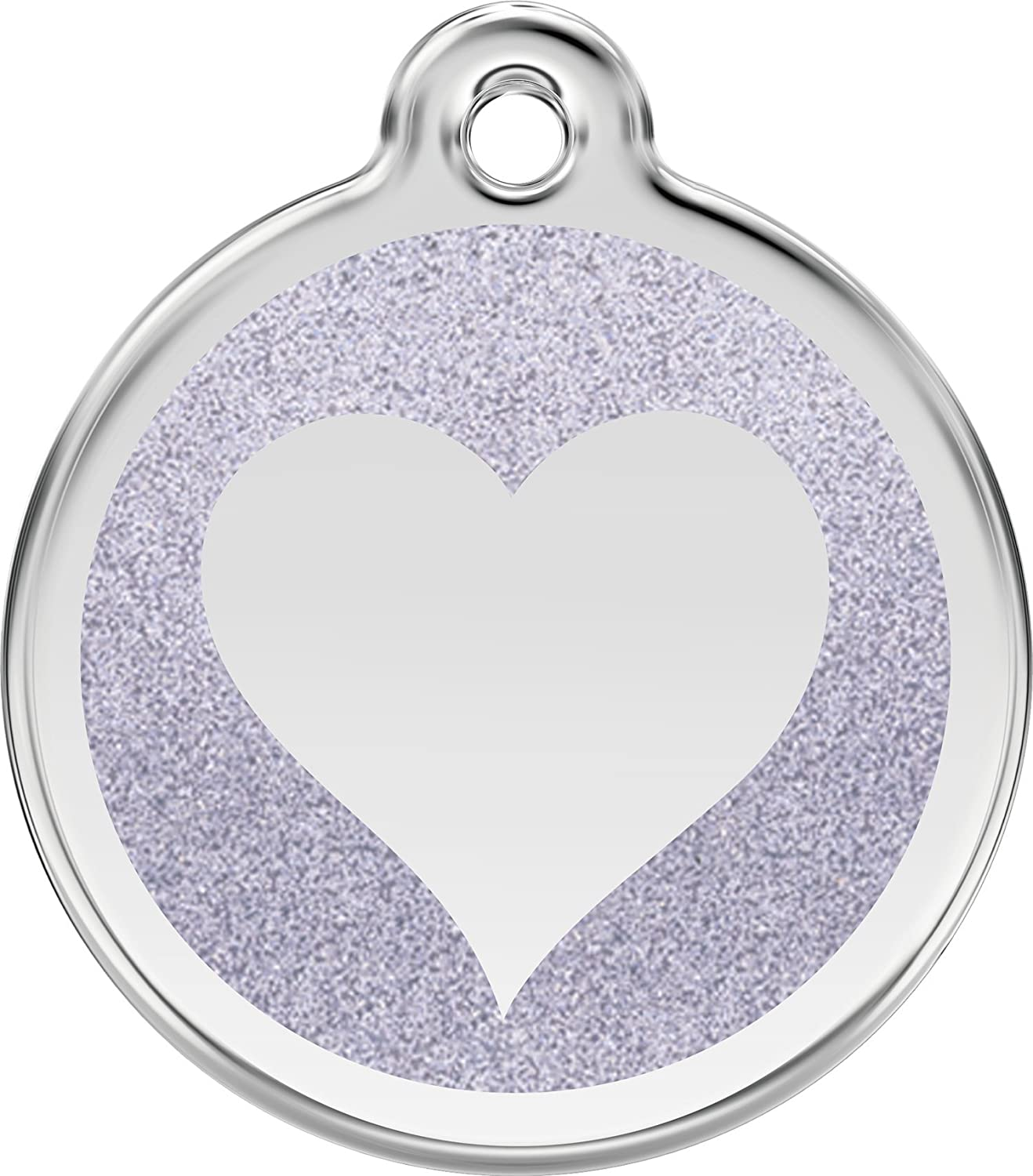 Red Dingo Stainless Steel & Glitter Enamel Heart Dog ID Tag (Silver, Large)
