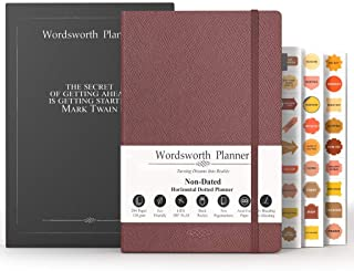 Wordsworth Undated Bullet Planner- Dotted Organizer Business Journal-Weekly Monthly Yearly Spread -Hardcover, 5.83 × 8.27I... photo