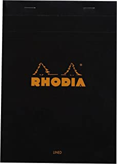 Rhodia Staplebound Notepads - Lined w/ margin 80 sheets - 6 x 8 1/4 in. - Black cover