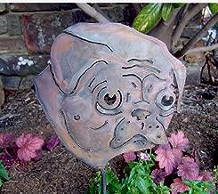 Pug garden stake - Pug memorial stake - Dog garden accent - Pug yard stake - Flower bed accent - Dog artwork - Rustic metal pug face