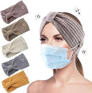 Fascia per capelli lavorata a maglia invernale 5 pezzi, Fascia per capelli lavorata a maglia calda Fascia per bottoni anno...