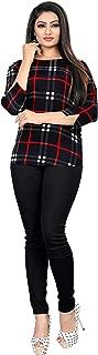 Dsk Studio Woman's Crepe 3/4 Sleeve Regular fit Top_dtp1009_Red