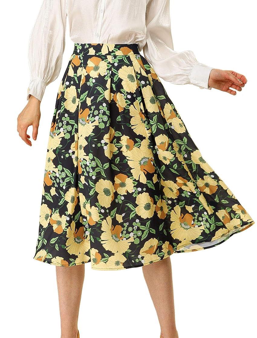 褐色見ましたアメリカAllegra K Aライン プリーツ スカート 花柄 ミモレ丈 ミディスカート ハイウエス レディース