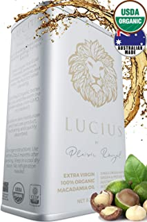 Lucius Organic Macadamia Oil 8.5Oz (2 Pack) - USDA Certified & 100% Australian Mac Nut - Cold Pressed, Food Grade for Cooking or Hair & Skin - Natural Conditioner, Repair Mask & Deep Body Treatment