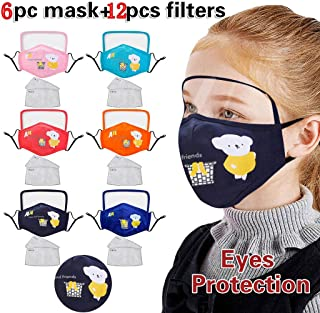 6PC Face Cover with Eyes Shield + 12Filters, Dustproof Non-woven Anti-Particle Anti-droplet Anti-pollen Dust-proof Breathable (Black)