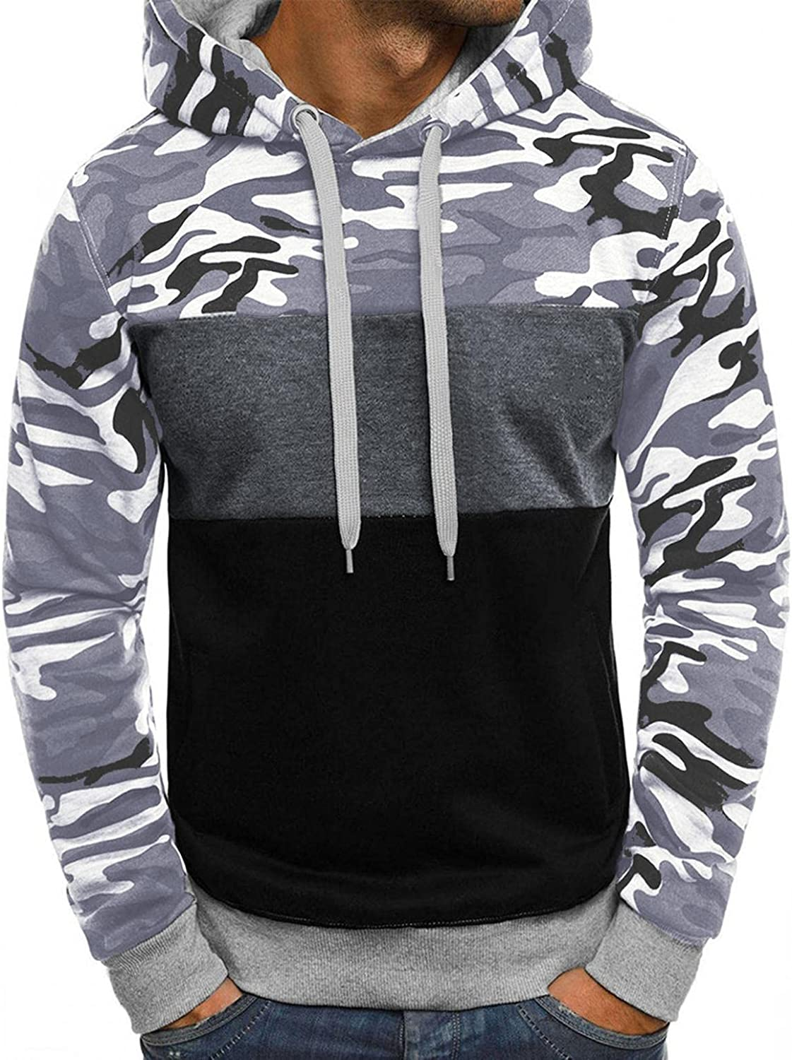 Huangse Hoodies for Men Cozy Camouflage Pullover Casual Loose Long Sleeve Sweatshirt Workout Sports Sweater Hoodies