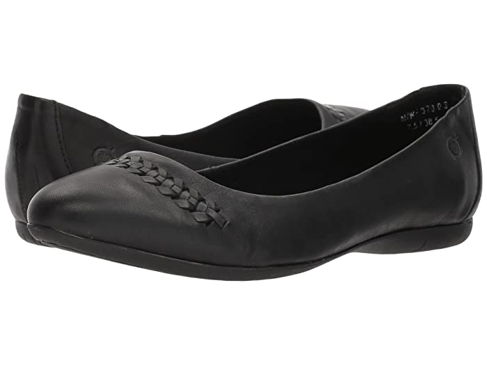 Born  Madeleine (Black Full Grain Leather) Womens Flat Shoes