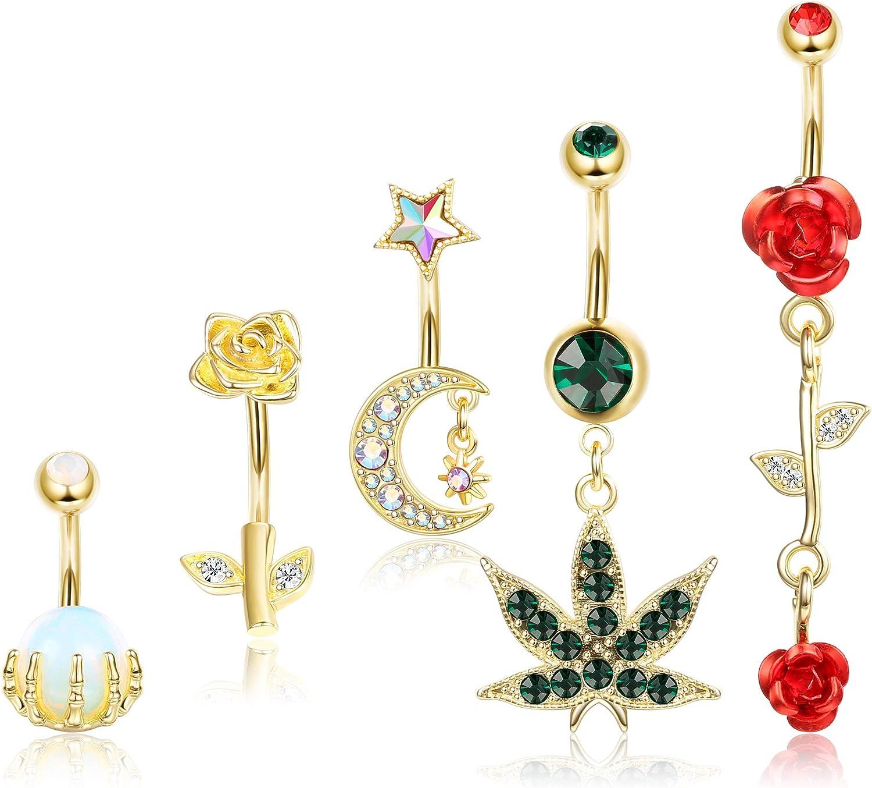 JOERICA Belly Button Rings for Women Belly Rings 14G Stainless Steel Navel Rings Navel Piercing Jewelry
