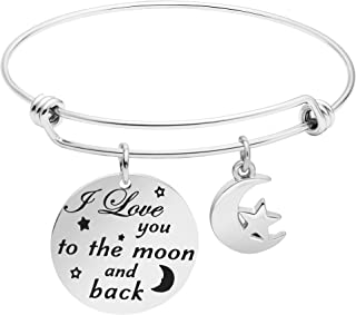 CHUYUN Stainless Steel Engraved to The Moon and Back Inspirational Open Cuff Bracelet Bangle for Lover Gift