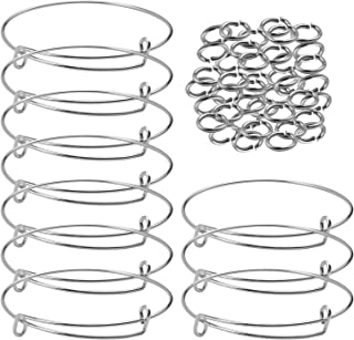 Expandable Bangles, 20 Pieces Adjustable Wire Blank Bangle Bracelet with 100 Pieces Jump Rings for Women's DIY Jewelry Making - 2.6 inch