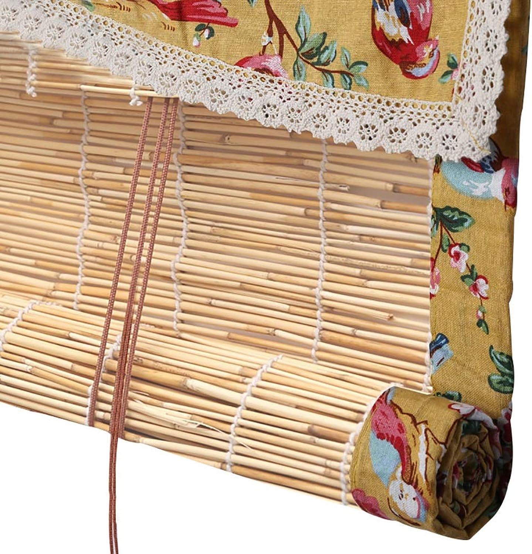 precio mas barato Persianas enrollables bambú bambú bambú con Cenefa, Prueba de Polvo con Bordes de arpillera Retro, para balcón Puertas salón de té, fáciles de Instalar  artículos de promoción
