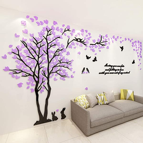 ViviLinen 3D Wall Stickers Tree Of Life DIY Arcylic Wall Decal Home Decor Art Purple Left To Right