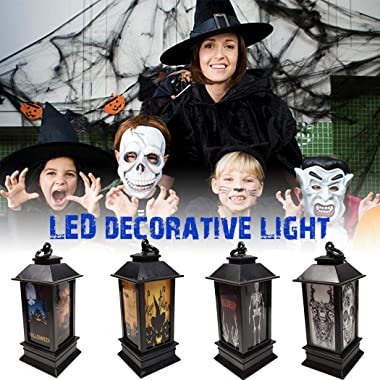 WEIKI Halloween Decoration Props Led Candles Light Vintage Castle Pumpkin Lantern Flame Lamp Scary Halloween Party Supplies (3)