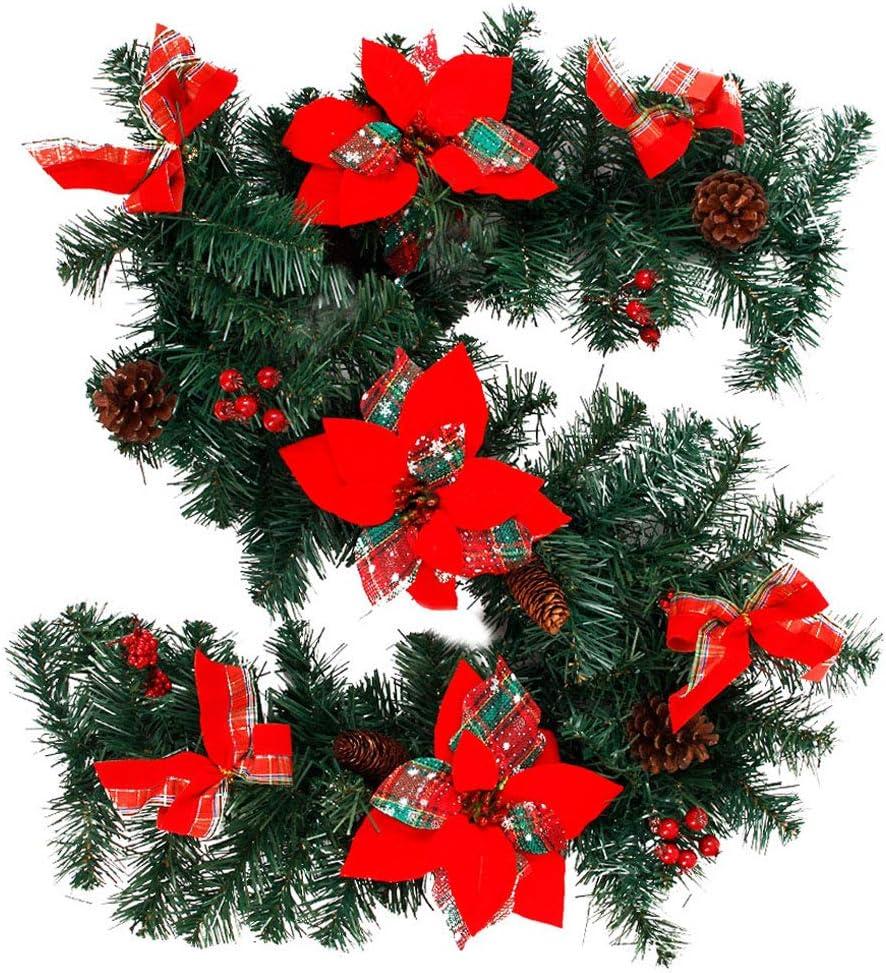 MeteorFlying colore: verde Ghirlanda natalizia da 2,7 m per scale confezione da 1 caminetti ghirlanda di pino artificiale per interni ed esterni