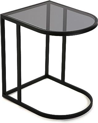 Versa Noa Table d'appoint pour Le Salon, la Chambre ou la Cuisine. Table Basse auxiliaire Moderne, Dimensions (H x l x L) 55 x 40 x 50 cm, Métal et Verre, Couleur Noir