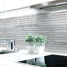 Keuken achterwand stenen lagen grijs premium hard PVC 0,4 mm zelfklevend - direct op de tegels, afmetingen: 280 x 60 cm