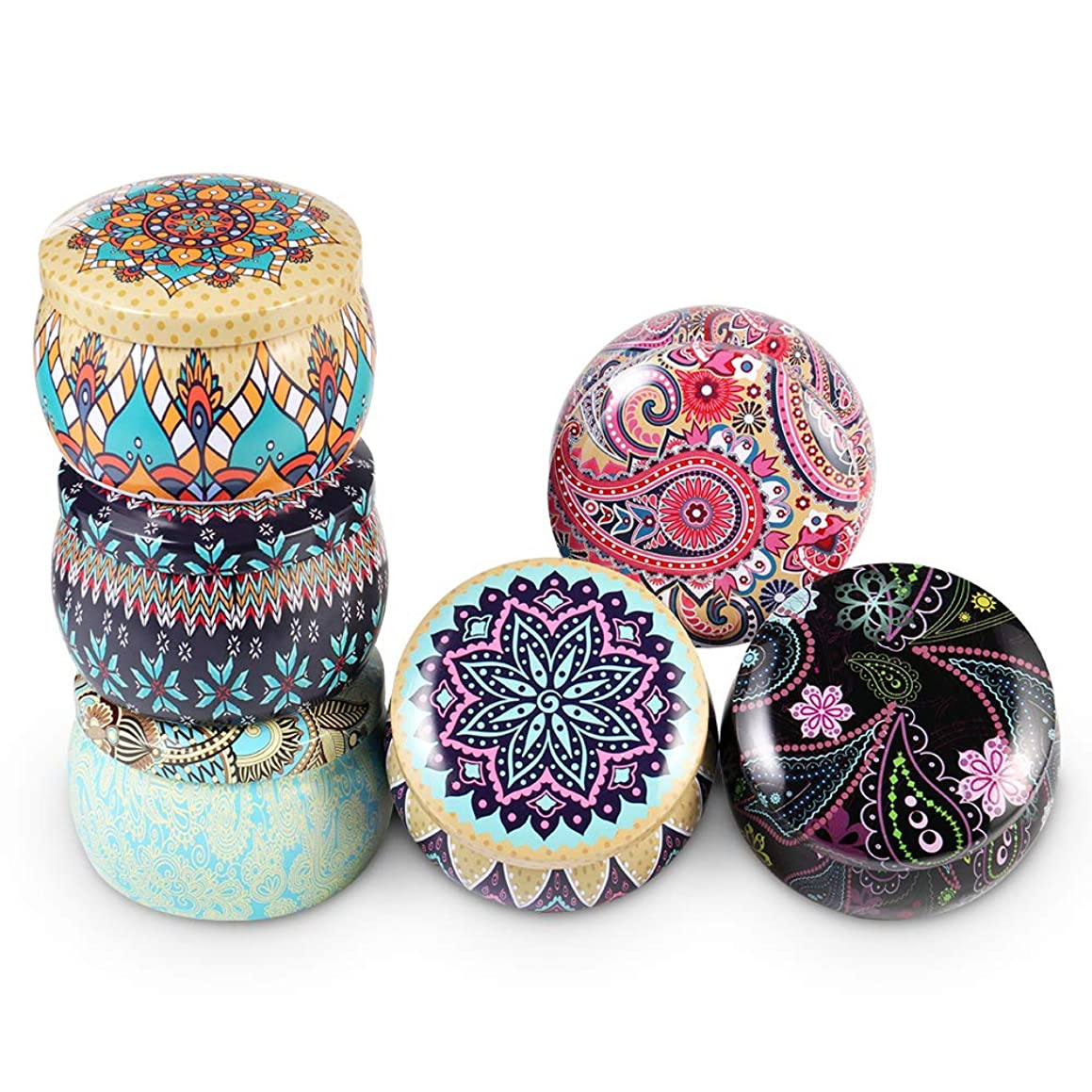 Candle Tin Jars 6pcs Candle Making Containers Round Shape Storage Box Party Favors Vintage Printed Coffee Tea Cans DIY Candle Wax Holder Jewelry Box Home Decorations Box