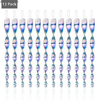 Colmanda Reflectantes Wind Espiral, 12 Piezas Ahuyentador de Pájaros Repelente de Aves 30cm Espiral de Viento Reflectante para Decoración de Jardín Hogar (2)