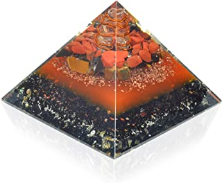 New Orgonite Pyramid Energy Generator | For Balancing Energy | EMF Protection | Red Jasper | Shungite | Tiger Eye | Black ...