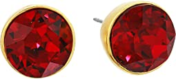 Satin Gold/Ruby Round Headlight Post Earrings