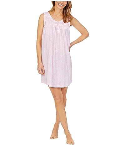 Carole Hochman Soft Jersey Sleeveless Short Gown (Pink/Print) Women