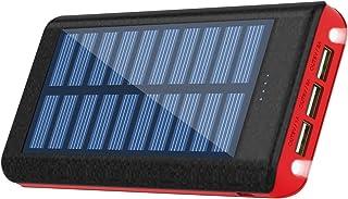 【RuiPu 最新版ソーラーモバイルバッテリー大容量&LEDライト付き】ソーラーチャージャー モバイルバッテリー 24000mAh充電器 3USBポート【PSE認証済】太陽光で充電可能 耐衝撃 災害/旅行/アウトドアに大活躍