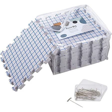 KnitIQ Tapis de Blocage Tricot – 9 Tapis Très Épais avec Grilles, 100 Épingles en T et Sac de Rangement pour Tricotage ou au Crochet