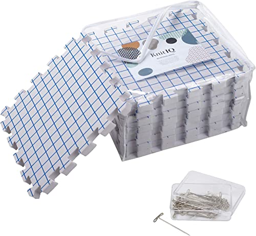 KnitIQ Blocking Mats for Knitting - Extra Thick Blocking Boards with Grids with 100 T-pins and Storage Bag for Needle...