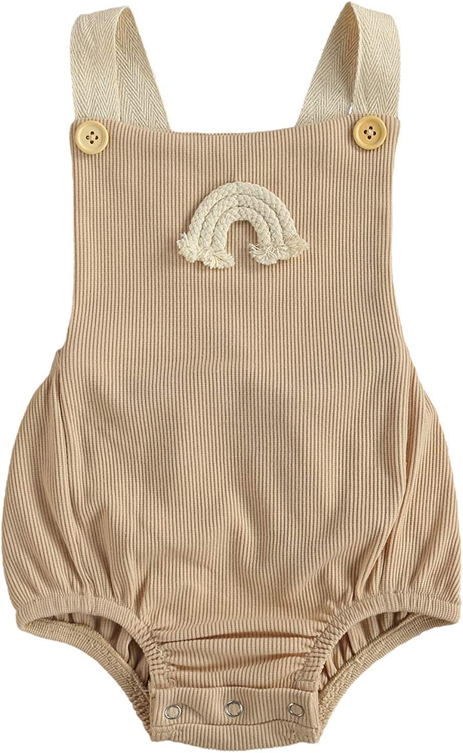 Infant Indefinitely Baby Boy Girl Rainbow Romper Outlet sale feature Halter Sleeveless Backless B