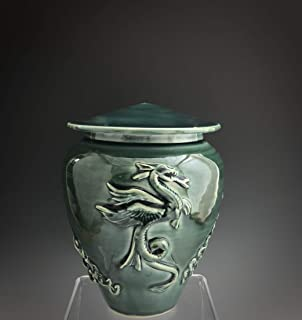 Mid Size Handmade Ceramic Cremation Dragon Urn with Deep Sea Glaze, Grief and Mourning, SacredUrnsEtc, Susan Fontaine Pottery