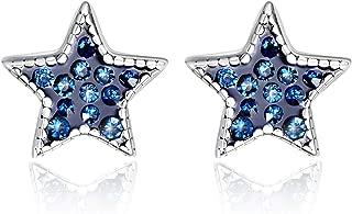Sterling Silver Star Stud Earrings Mini Blue Cubic Zirconia Tiny Small Earrings Hypoallergenic Jewelry for Sensitive Ears Gifts for Women Girls