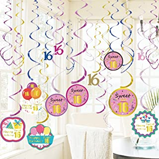 GOER Sweet 16 Party Supplies,20 Pcs Hanging Swirls for 16th Birthday Party Decorations