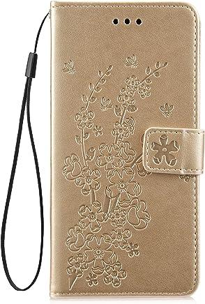 Jinghuash Kompatibel mit Huawei P30 Lite H�lle,Leder Tasche Pflaumenbl�te Muster Brieftasche Etui Bookstyle PU Leder Flip Case Handyh�lle mit Kartenf�cher Magnet Schutzh�lle Handytasche-Lila