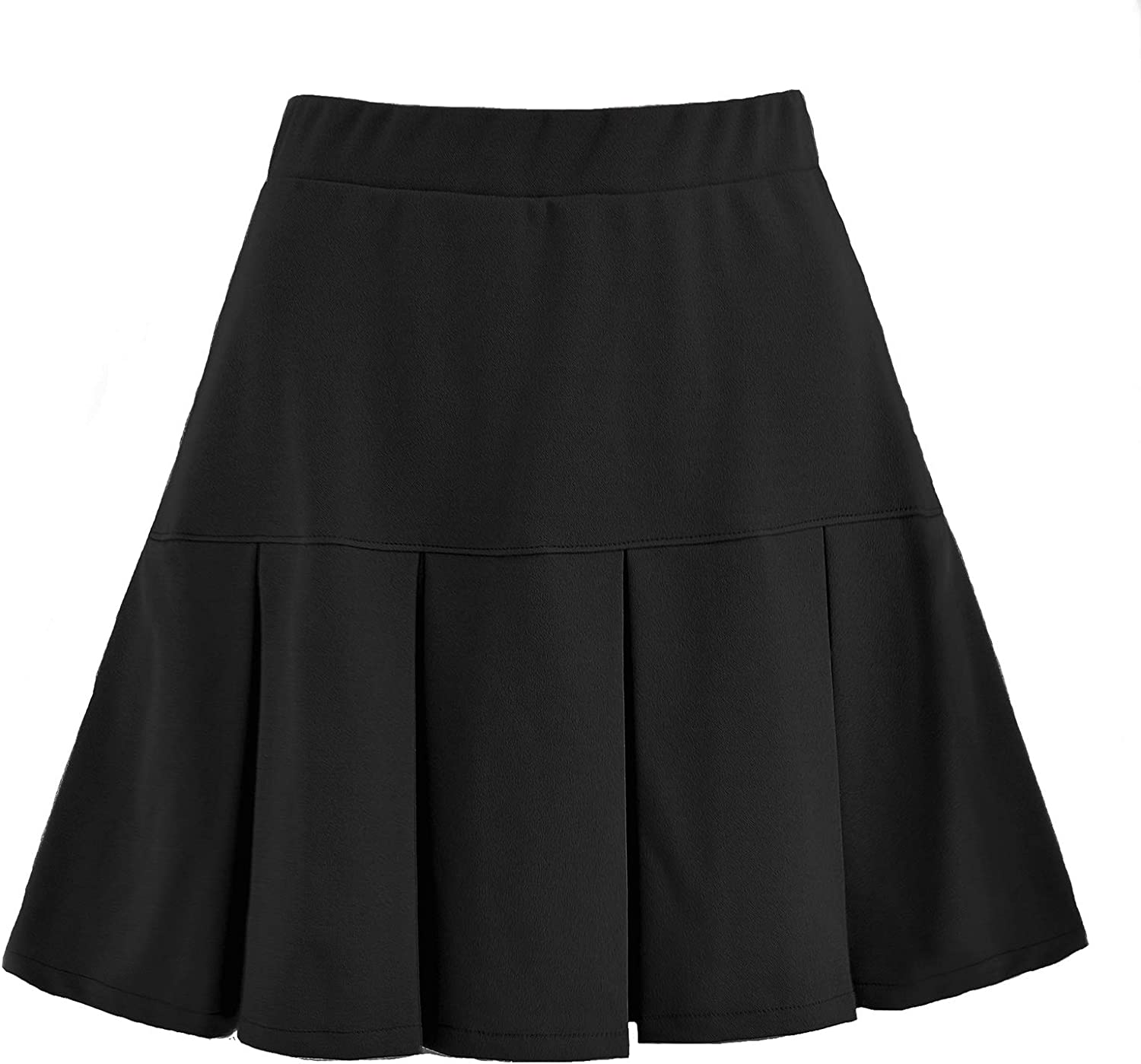 Women's Basic Versatile Stretchy Solid Color Mini Pleated Casual Short Skirt