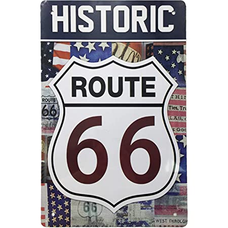 AIQIBAO Metal Vintage Tin Sign Decor-Historic Route 66 for Movie House Bar Pub Funny Retro Wall Art Sign 12 X 8
