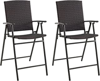Set of 2 Folding Balcony Wicker Chairs, Brown
