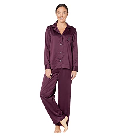 LAUREN Ralph Lauren Satin Long Sleeve Notch Collar Long Pants Pajama Set (Wine) Women