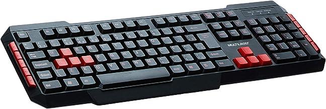 Teclado Multimídia Multilaser Gamer Red Keys Usb - TC160, preto