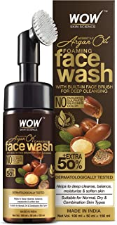 WOW Skin Science Moroccan Argan Oil Foaming Face Wash with Built-in Brush - contains Argan Oil & Aloe Extracts - for Dry t...