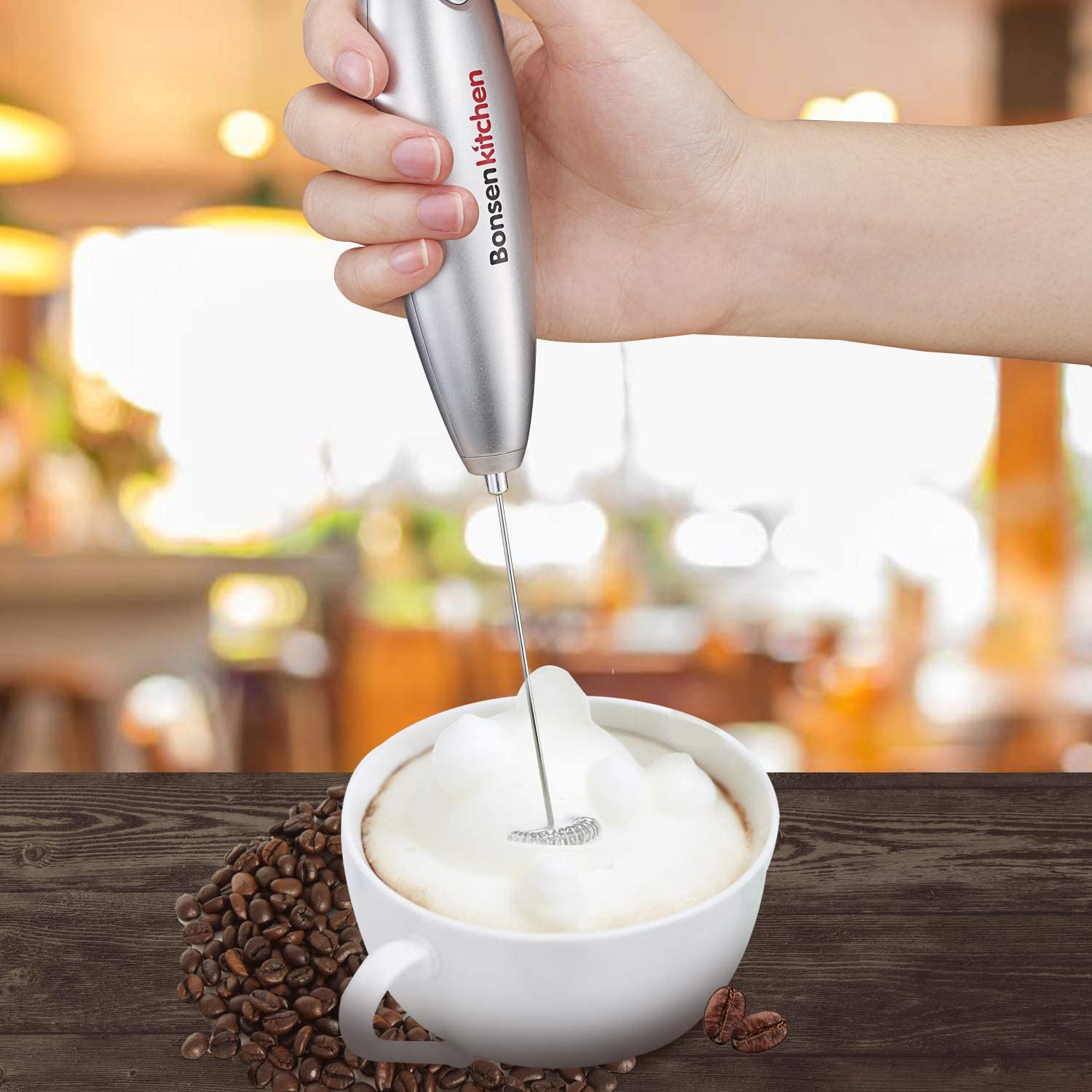 Bonsenkitchen Electric Milk Frother Automatic Foam Maker for Coffee Cappuccino Lattes Perfect Gift for Coffee Lovers Hot Chocolate