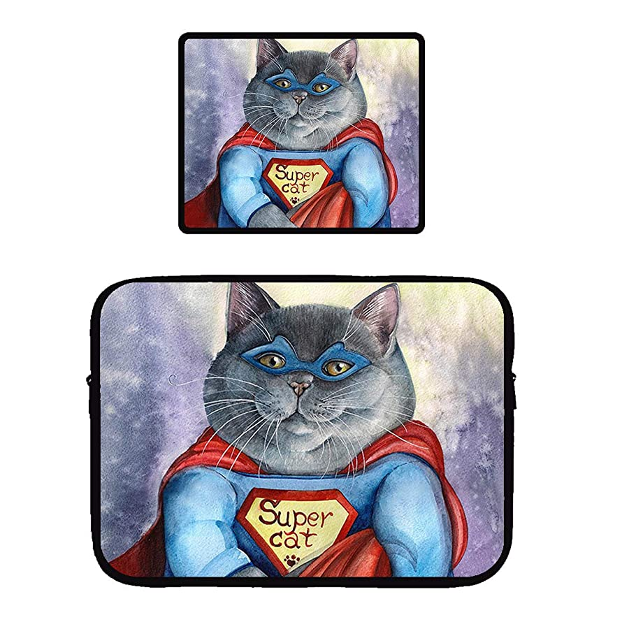Beach Surfers Super Cat Funny Cloak Cute Cats Laptop & MacBook Zipper Sleeve Bag & Mouse Pad Computer Sleeve Cover for Apple MacBook Air/Notebook/Netbook/Chromebook