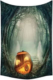 asddcdfdd Halloween Decorations Collection Big Scary Halloween Pumpkin in Enchanted Forest Mystic Twilight Party Themed Bedroom Living Room Dorm Wall Tapestry Orange Teal