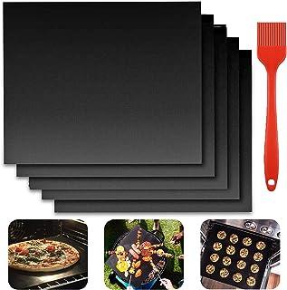YISKY Tapis de Cuisson Barbecue, 5 Pièces 40 x 33cm Tapis Barbecue Set, Feuilles de BBQ Anti-Adhérent, Réutilisable, Peut ...
