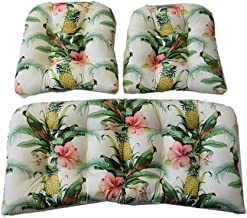 3 Piece Wicker Cushion Set - Indoor/Outdoor Made with Tommy Bahama Home Fabric - White Beach Bounty Lush Green - Tropical Bird, Pineapple, Floral Wicker Loveseat Settee & 2 Matching Chair Cushions
