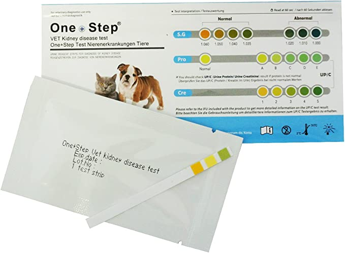 5 x Tiras de 3 Parámetros para Enfermedades de Riñón en Perros y Gatos - Gravedad específica, Proteína y Creatinina
